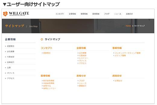 ユーザー向けサイトマップ