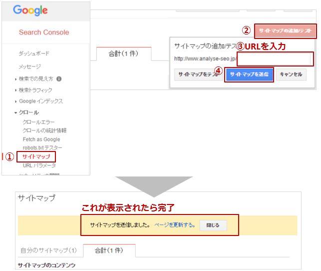 sitemap.xml登録イメージ-完了画面