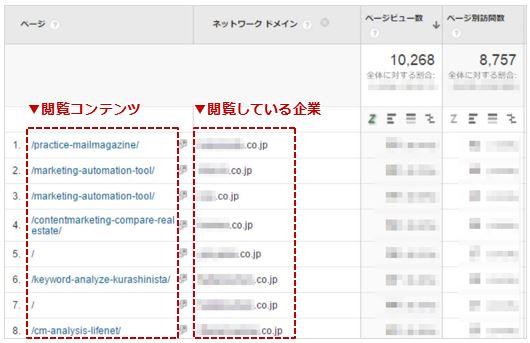 1.どのページにどんな企業が訪問しているか-レポートイメージ